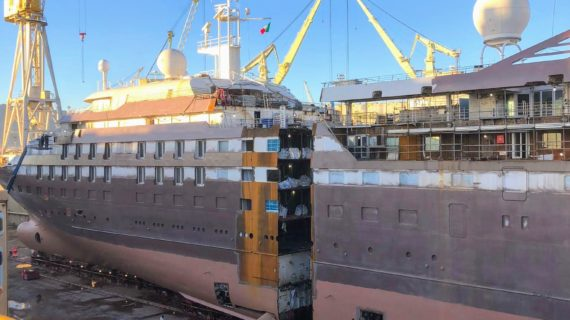 The Lengthening process for Windstar Cruises in Palermo continues!